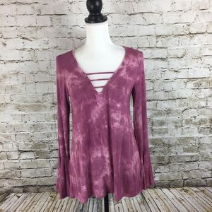 American Eagle Outfitters dusty rose tie dye top